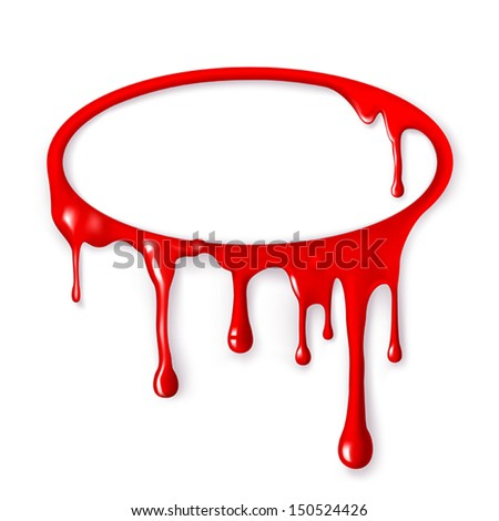 Frame of paint drips of red color. Mesh. Clipping Mask. - stock vector