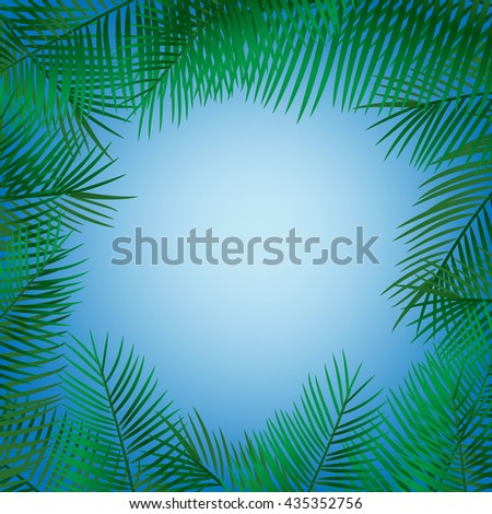 Frame of palm leaves. Summer holiday illustration with lettering.