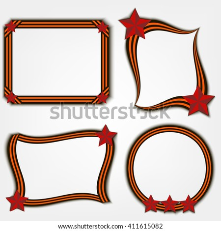 Frame of St. George's ribbon and a red star. - stock vector