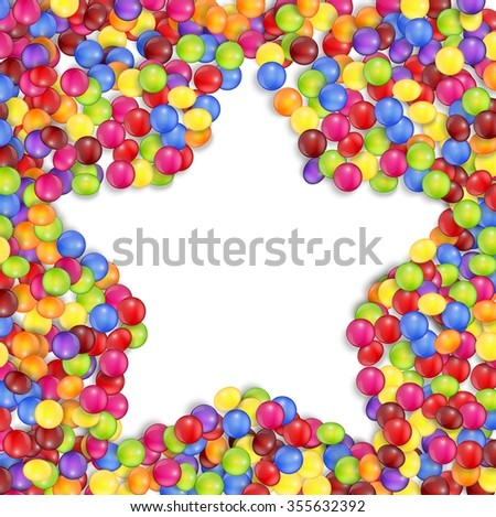 Frame of star colored candies.vector - stock vector