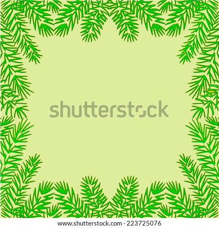 Frame of the branches of spruce textured Christmas theme vector illustration