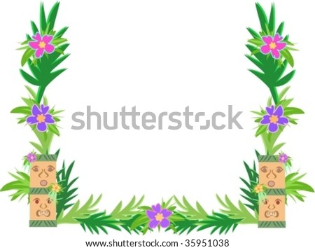 Frame of Tiki and Hibiscus Flowers Vector - stock vector