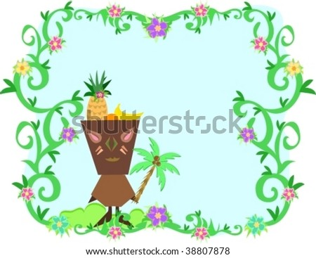 Frame of Tropical Plants, Tiki and Fruit Hat Vector - stock vector