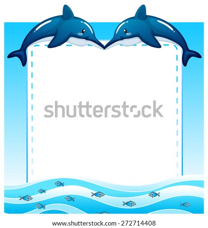 Frame Two Dolphins Sea Water Stock Vector 272714408 - Shutterstock