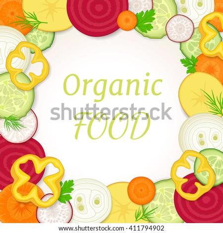 Frame Vegetables Vector Illustration Made Round Stock ...