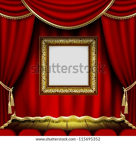 Frame on the background of red theater stage curtains. Mesh.EPS10.Clipping Mask.This file contains transparency. - stock vector