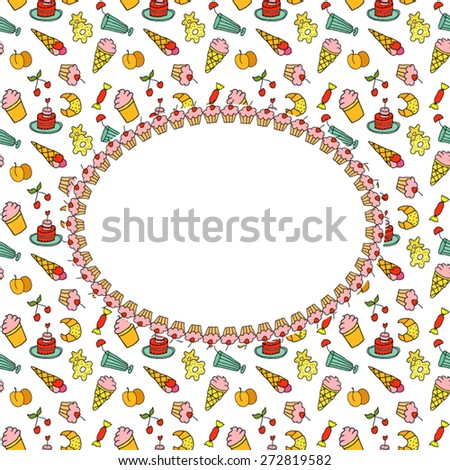 Frame on the background of sweets - stock vector