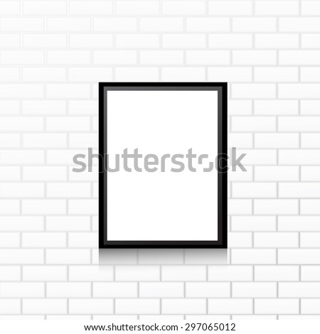 Frame on white wall. Vector
