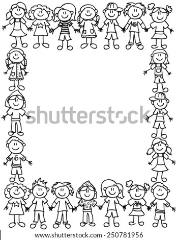 Frame or page border of cute kid cartoon characters holding hands - black outline - stock vector