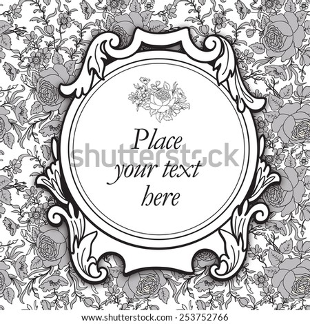 Frame over floral background. Flourish border. Decorative card. Flower seamless pattern. - stock vector