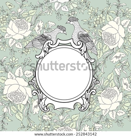 Frame over flower background. Vignette border with bird. Decorative card with floral pattern. - stock vector