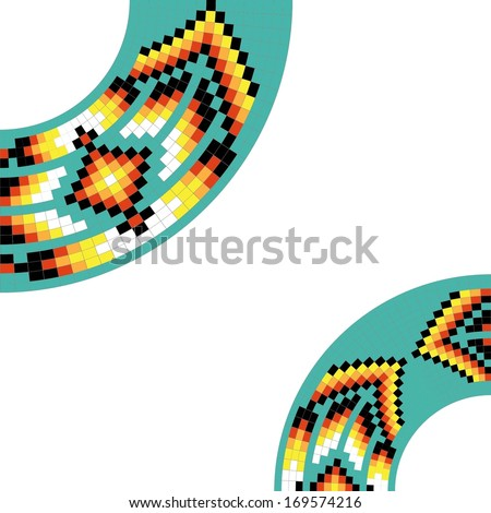 Frame template for cards, invitations, banners. You can place any text here. Invitation card with native american (indian) round pattern, vector. - stock vector