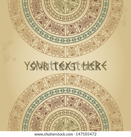 Frame template for cards, invitations, banners. You can use it for place any text here. Invitation card with ethnic traditional pastel colors half round pattern on grunge background, vector - stock vector
