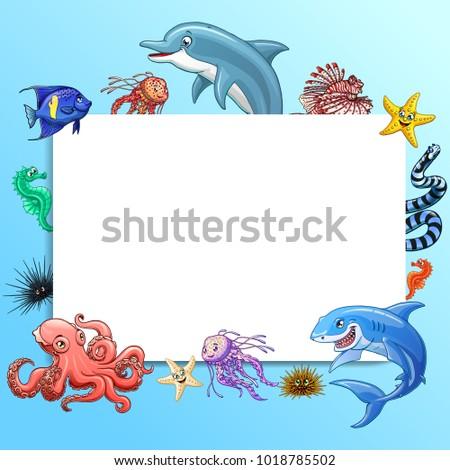 Frame Text Square Design Marine Underwater Stock Vector (2018 ...
