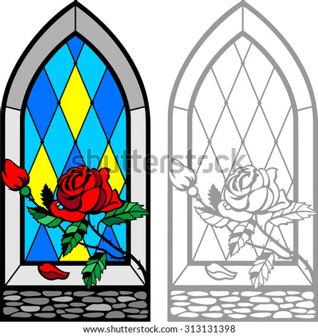 Frame Window With Red Rose On Windowsill Glass In Gothic Style Lancet Stained