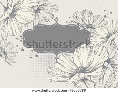 Frame with a blooming flower and heart - stock vector