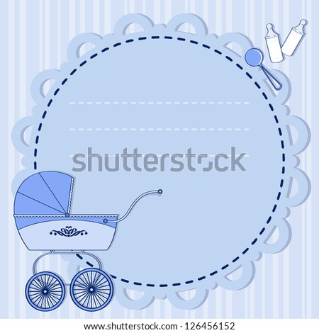 frame with a stroller in blue for a boy - stock vector