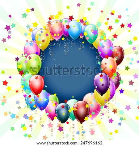 frame with balloons and stars background - stock vector