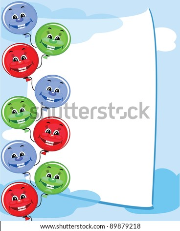 Frame with balloons,vector