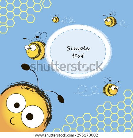 Frame with bees and honeycomb. Vector illustration. - stock vector
