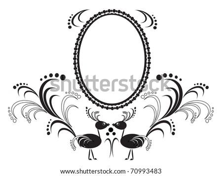 Frame with birds - stock vector