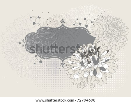 Frame with blooming chrysanthemums eps10 - stock vector