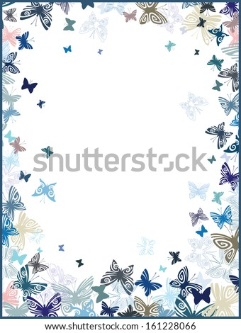 Frame with butterflies - stock vector
