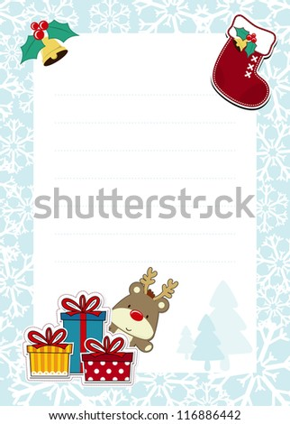 frame with childlike christmas ornaments on white background for your message, usable for dear santa template letter - stock vector