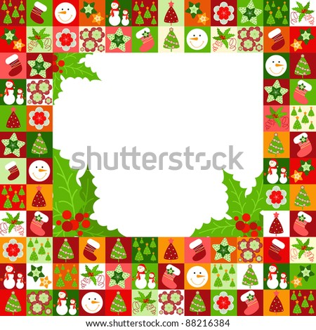 frame with Christmas decorations - stock vector