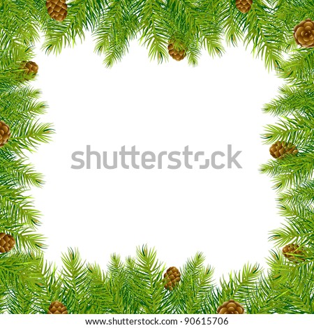 Frame With Christmas Tree And Pine Cone, Vector Illustration - stock vector