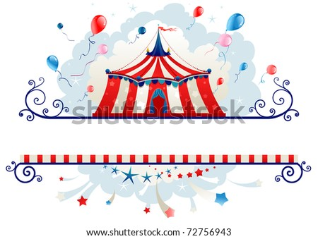 Frame with circus tent with space for text - stock vector