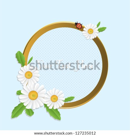 Frame with daisies and ladybug.Vector eps10, illustration.