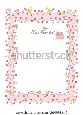 Frame with decorative flowers and birds - stock vector