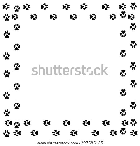 frame with dog tracks isolated on white background vector illustration - Dog Frame