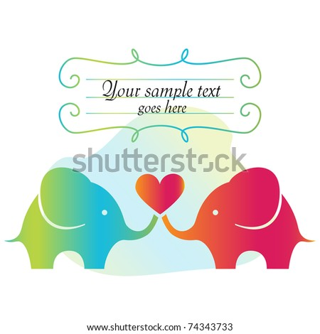 Frame with elephants and heart - stock vector