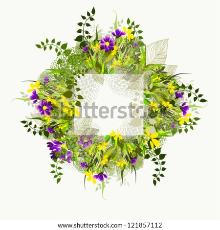 Frame with flowers - stock vector