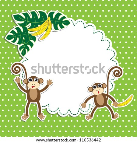 Frame with funny monkeys - stock vector