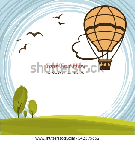 Frame with hot air balloon - stock vector