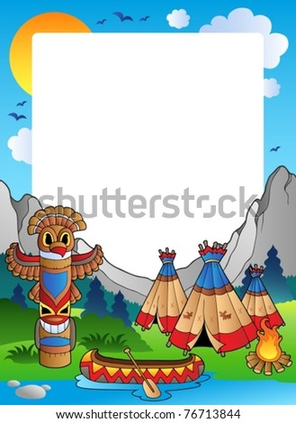 Frame with Indian village - vector illustration. - stock vector