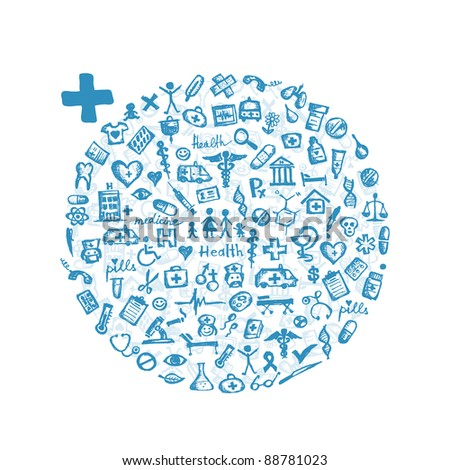 Frame with medical icons for your design - stock vector