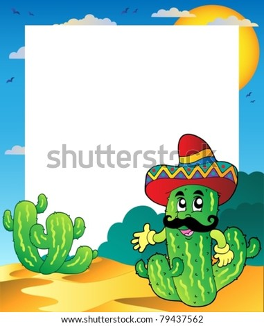 Frame with Mexican cactus - vector illustration. - stock vector