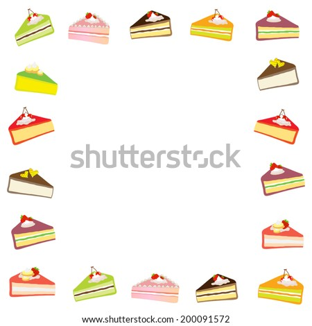 Frame with  pieces cake. Vector  - stock vector