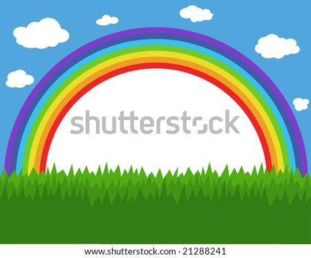 Frame with rainbow, sky and grass - stock vector