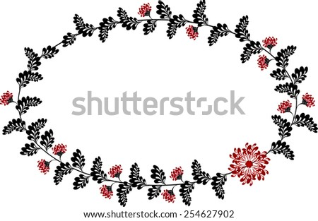 Frame with red and black flowers in the shape of an ellipse. EPS10 vector illustration. - stock vector