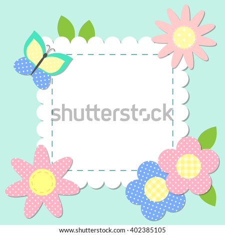 frame with scrapbook elements vector template for greeting cards