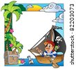 Frame with sea and pirate theme 5 - vector illustration. - stock photo