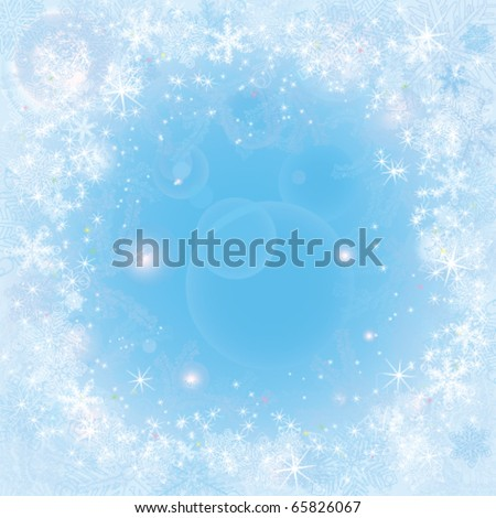 Frame with snowflakes and frosty patterns - stock vector