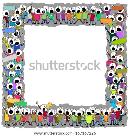 Frame with striking people - stock vector