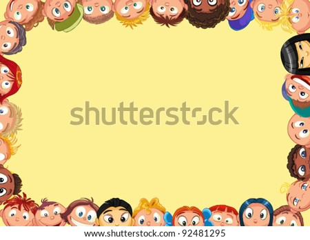 frame with the children - stock vector