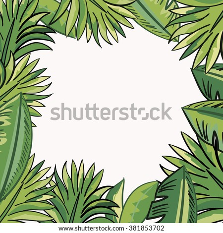 Frame with tropical leaves - stock vector